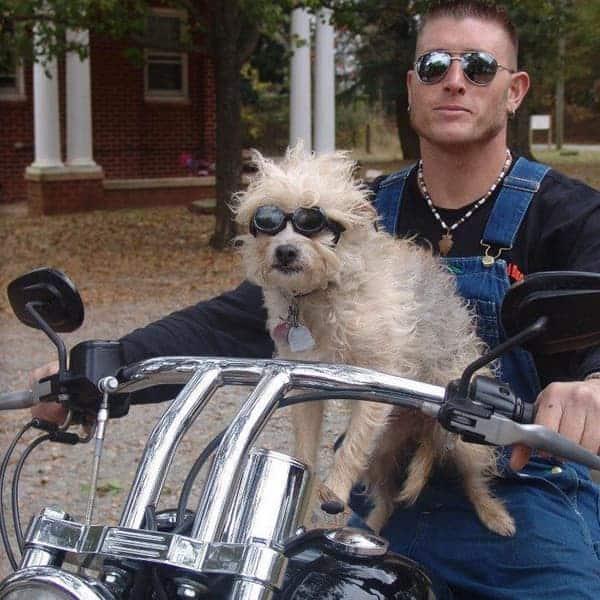 Josh Owens' riding bike with his dog