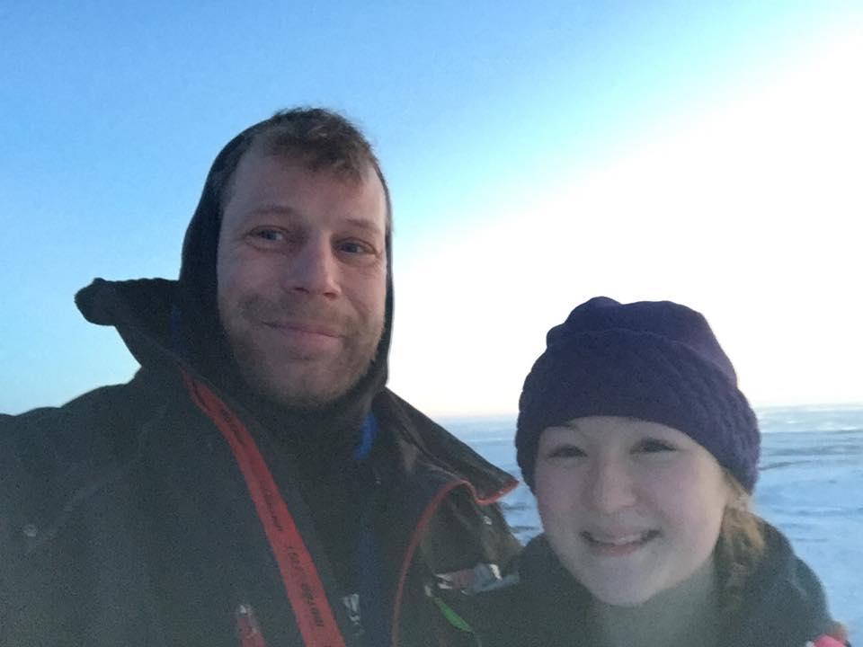 Image of Bering sea gold cast Shawn Pomrenke and his daughter Emily Jane Pomrenke