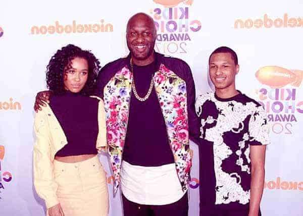 Image of Lamar Odom with his daughter Destiny and son Lamar Jr