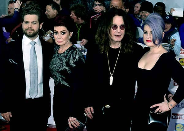 Image of Ozzy Osbourne with his ex-wife Sharon Osbourne and with their kids Kelly and Jack