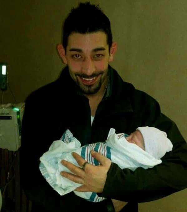Image of Josh Harris with his baby Kinsley Ella Harris