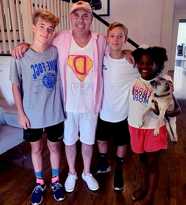 Image of Dave Wilson with their kids Jett and Sully Wilson and daughter Lennox Esmee