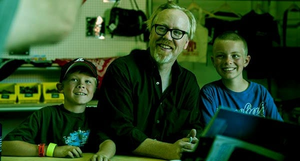 Image of Julia Savage husband Adam Savage with thier kids Addison and Riley