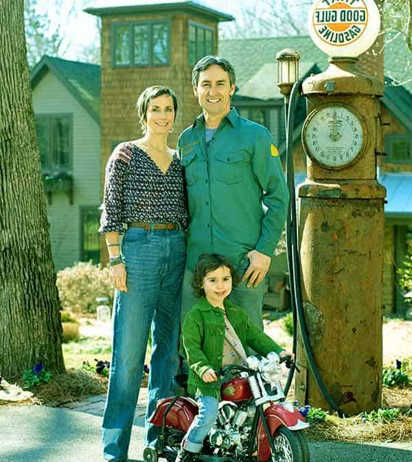 Image of Mike Wolfe with his wife Jodi and with their daughter Charlie Faeth Wolfe