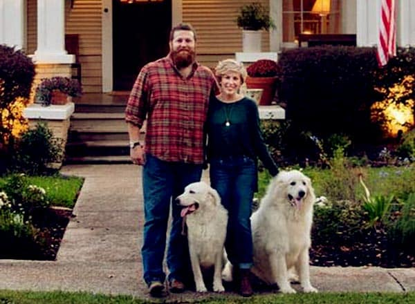 Image of Ben and Erin Napier with their dogs (Baker and Chevy)