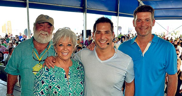 Image of Michael Groover with his wife Paula Deen and with their kids Bobby Deen and Jamie Deen.