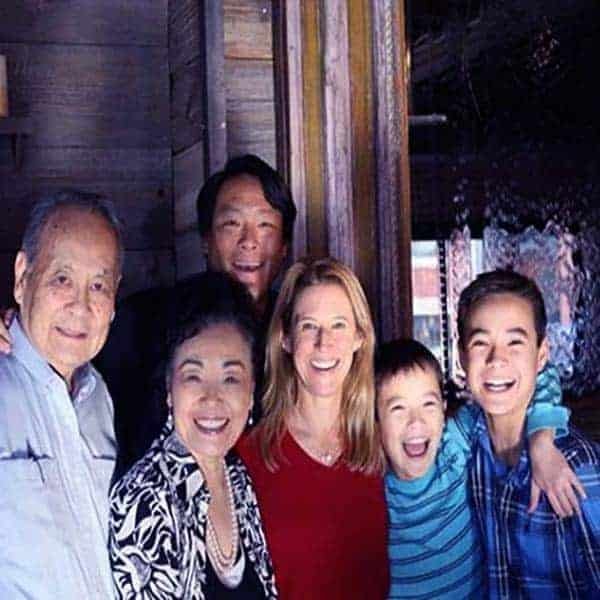 Image of Ming Tsai with his wife Polly Tsai and with his father (Stephen Tsai), mother (Iris Tsai) and with kids David and Henry Tsai.
