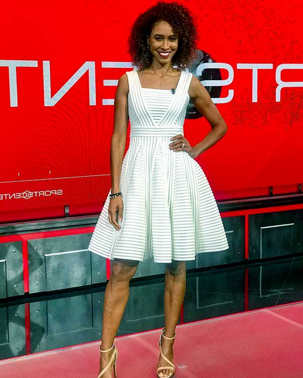 Image of American television host, Sage Steele height is 5 feet 10 inches