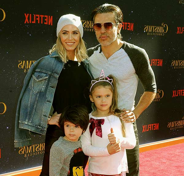 Image of Teddi Mellencamp and her husband John Mellencamp and with their kids Cruz Arroyave (son) and Slate Arroyave (daughter)