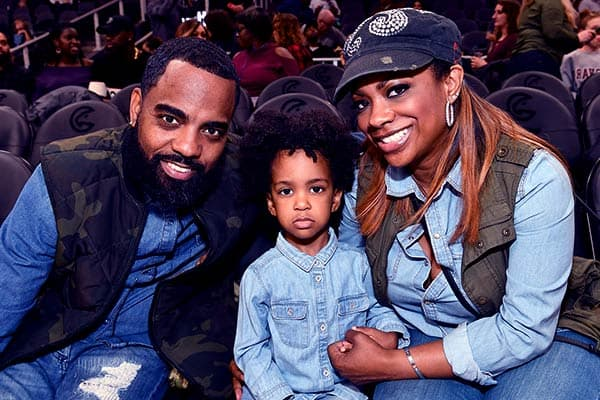Image of Todd Tucker with his wife Kandi Burruss and with their son Ace