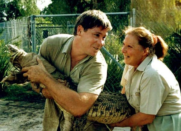 Image of Steve Irwin with his mother Lynn Irwin