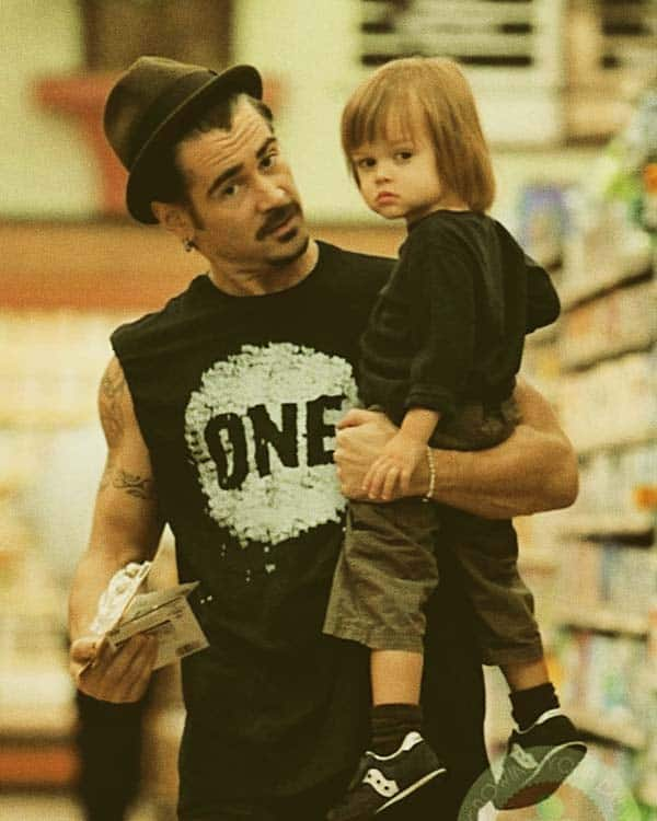 Image of Colin Farrell with his son Henry