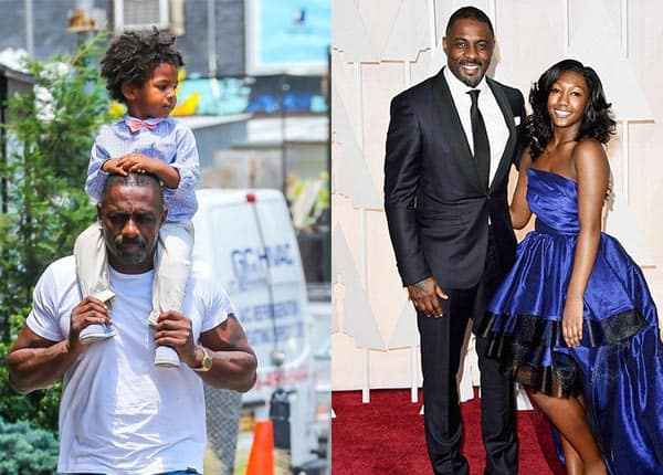 Image of Idris Elba with son Winston and daughter Isan