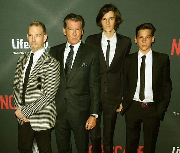 Image of Pierce Brosnan with his three sons